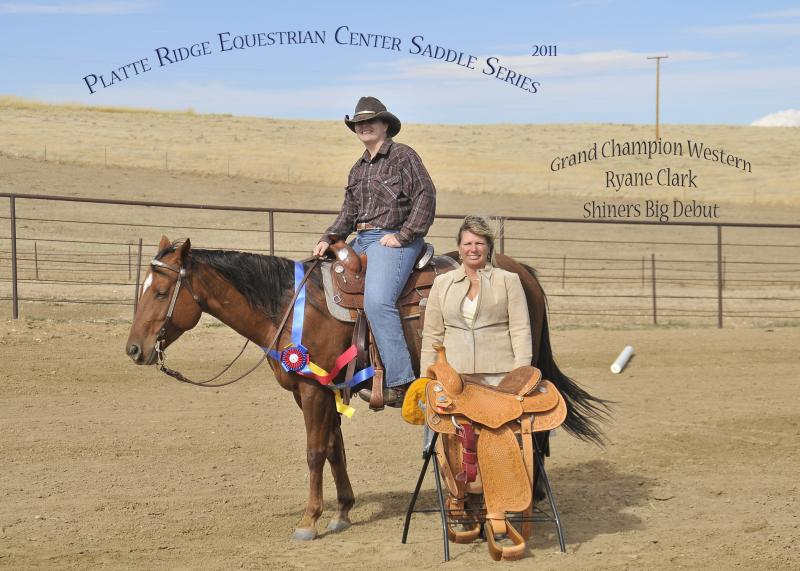 2011 Platte Ridge Horse Show Western High Point Winner is presented with a New Western Saddle